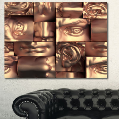 Designart Abstract Golden Blocks Abstract CanvasArt Print - 3 Panels