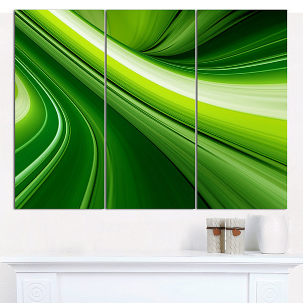 Design Art Abstract Green Lines Background AbstractCanvas Art Print - 3 Panels
