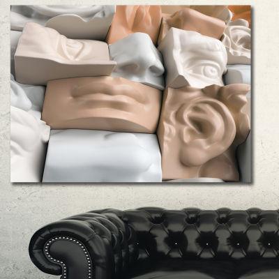 Designart Abstract Mannequin Blocks Abstract Canvas Art Print