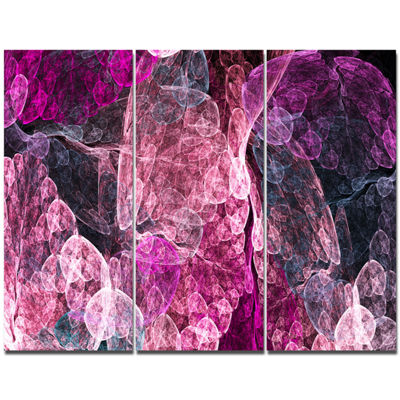 Designart Abstract Purple Fractal Illustration Abstract Canvas Art Print - 3 Panels