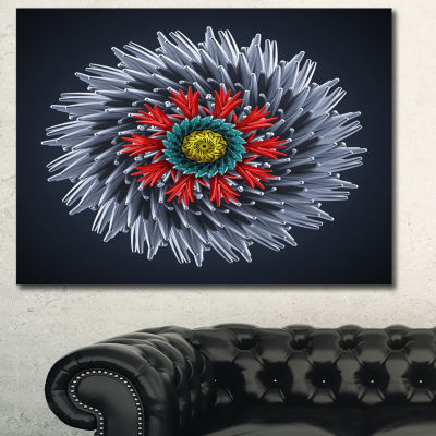 Designart Abstract Silver 3D Flower Abstract Canvas Art Print - 3 Panels