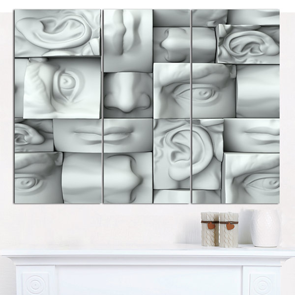 Design Art Abstract White Blocks Abstract Canvas Art Print - 3 Panels