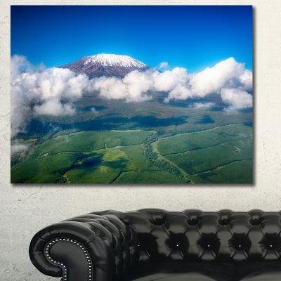 Designart Aerial View Of Mount Kilimanjaro Landscape Canvas Art Print - 3 Panels