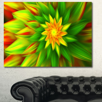 Designart Amazing Dance Of Green Petals Floral Canvas Art Print - 3 Panels