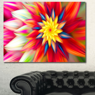 Designart Amazing Dance Of Red Petals Floral Canvas Art Print - 3 Panels