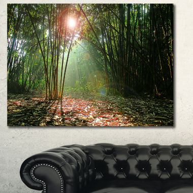 Designart Amazing Green Forest At Sunset LandscapeCanvas Art Print