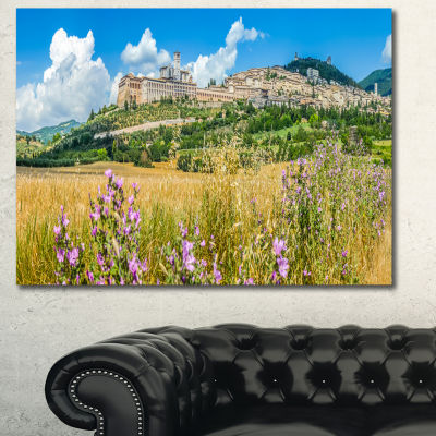 Designart Ancient Town Of Assisi Panorama Landscape Canvas Art Print - 3 Panels