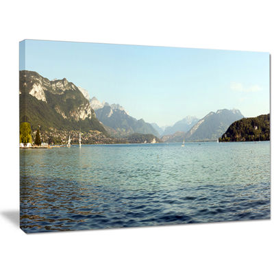Designart Annecy Lake France Panorama Landscape Canvas Art Print