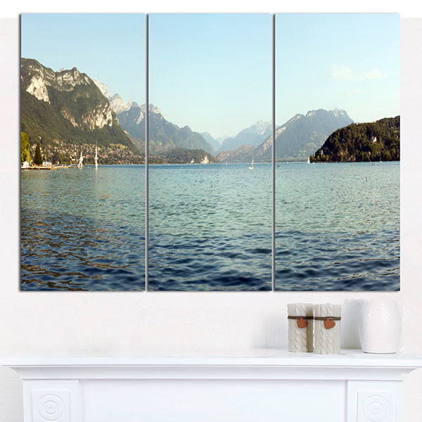 Designart Annecy Lake France Panorama Landscape Canvas Art Print - 3 Panels
