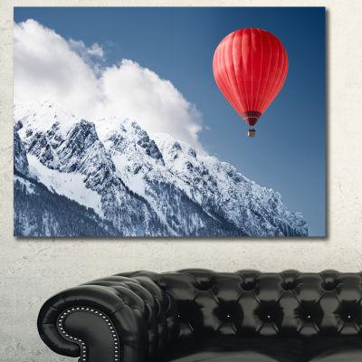Designart Balloon Over Winter Hills Landscape Canvas Art Print - 3 Panels