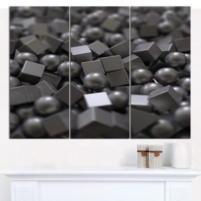 Designart Balls And Cubes 3D Design Abstract Canvas Art Print - 3 Panels