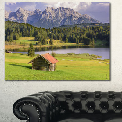 Designart Bavaria With Mountains And Lake Landscape Canvas Art Print - 3 Panels