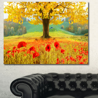 Designart Beautiful Autumn Yellow Tree Floral Canvas Art Print