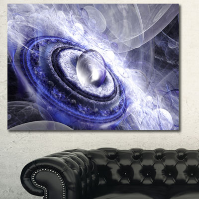 Designart Beautiful Blue Flying Saucer Floral Canvas Art Print - 3 Panels