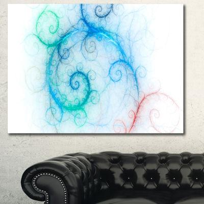 Designart Beautiful Blue Fractal Pattern AbstractCanvas Art Print - 3 Panels