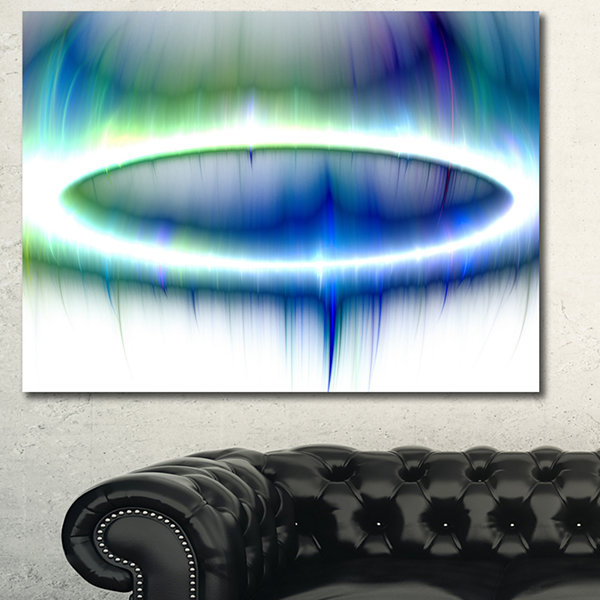 Design Art Beautiful Blue Northern Lights AbstractCanvas Art Print - 3 Panels