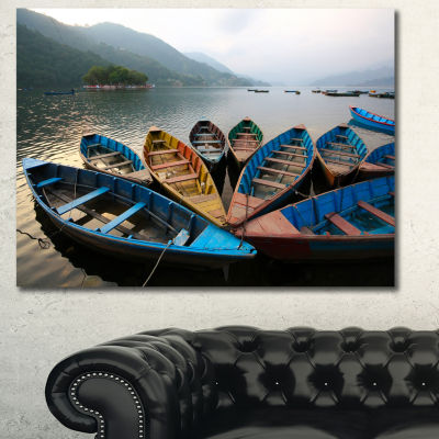 Designart Beautiful Boats In Phewa Lake Boat Canvas Art Print - 3 Panels