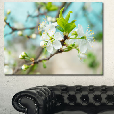 Design Art Beautiful Cherry Blossom N Spring FloralCanvas Art Print - 3 Panels