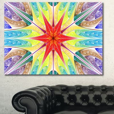 Designart Beautiful Colorful Stained Glass Abstract Canvas Art Print - 3 Panels