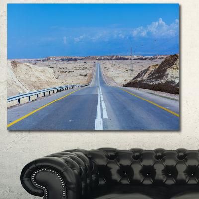 Designart Beautiful Desert Road Israel Landscape Canvas Art Print - 3 Panels