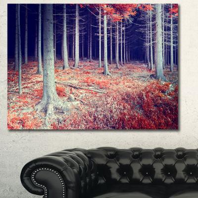 Designart Beautiful Fall Forest Panorama LandscapeCanvas Art Print - 3 Panels