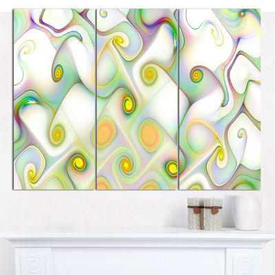 Designart Beautiful Fractal Pattern With Swirls Abstract Canvas Art Print - 3 Panels