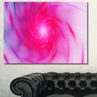 Design Art Beautiful Fractal Pink Whirlpool FloralCanvas Art Print - 3 Panels