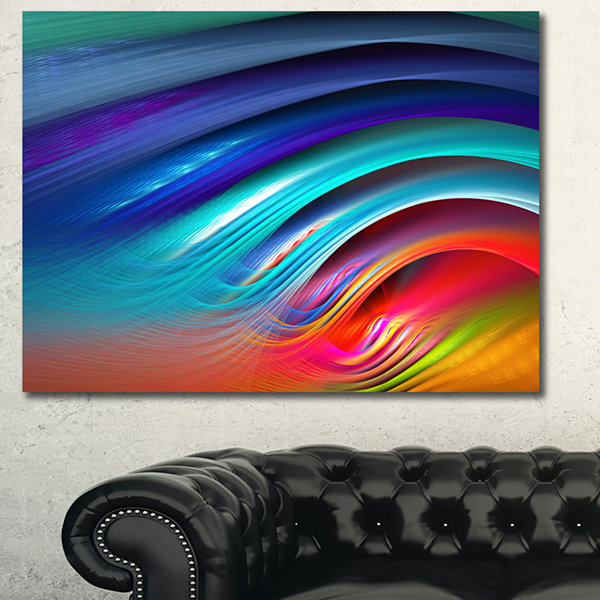 Designart Beautiful Fractal Rainbow Waves Floral Canvas Art Print
