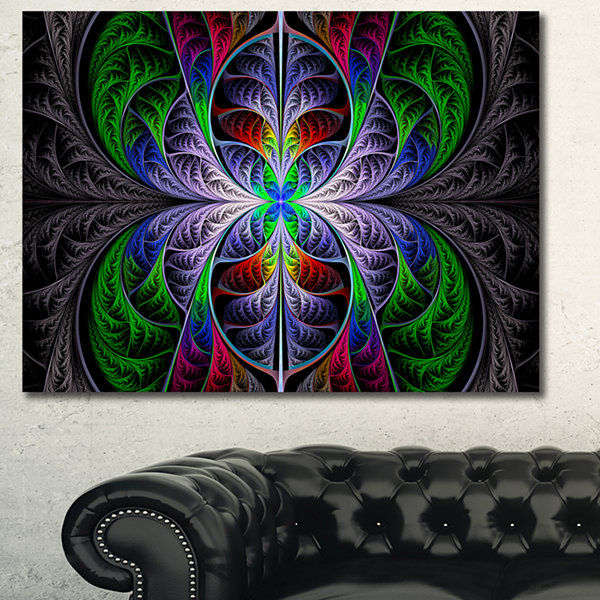 Designart Beautiful Fractal Stained Glass AbstractCanvas Art Print