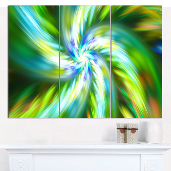 Designart Beautiful Green Flower Petals Floral Canvas Art Print - 3 Panels