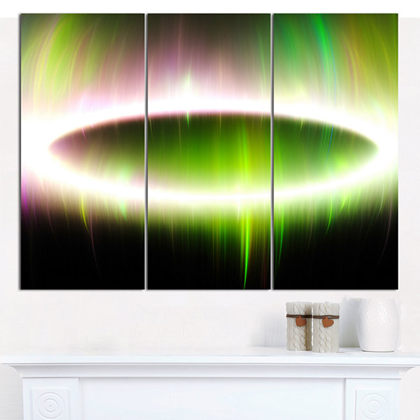 Designart Beautiful Green Northern Lights AbstractCanvas Art Print - 3 Panels