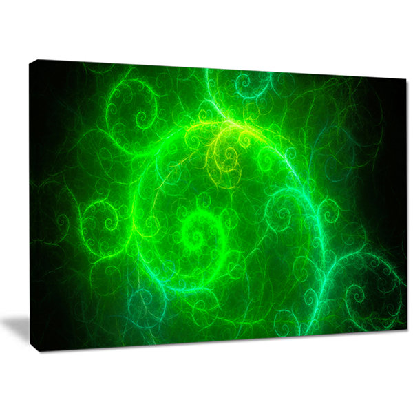 Designart Beautiful Green Pattern On Black Abstract Canvas Art Print