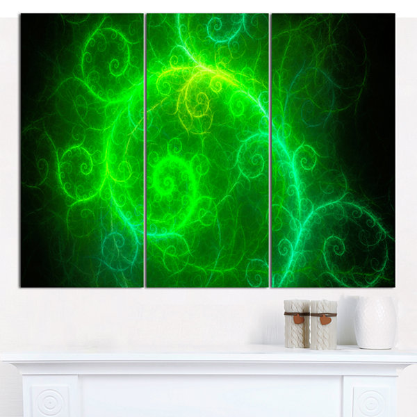Designart Beautiful Green Pattern On Black Abstract Canvas Art Print - 3 Panels