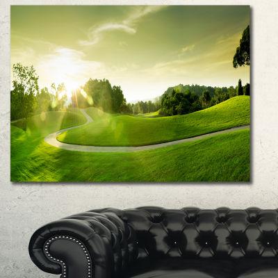 Designart Beautiful Green Valley Panorama Landscape Canvas Art Print