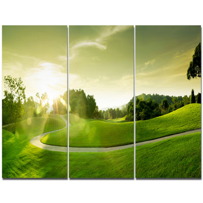 Designart Beautiful Green Valley Panorama Landscape Canvas Art Print - 3 Panels