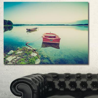 Designart Beautiful Lake Vintage View Boat CanvasArt Print - 3 Panels
