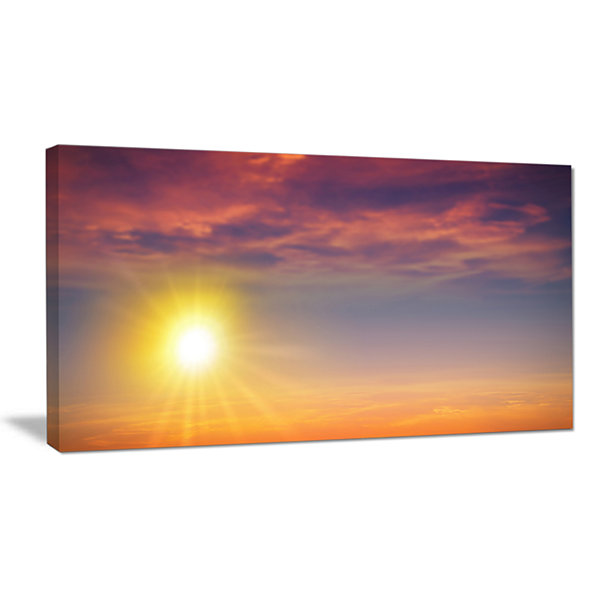 Designart Beautiful Panoramic Sunset Landscape Canvas Art Print