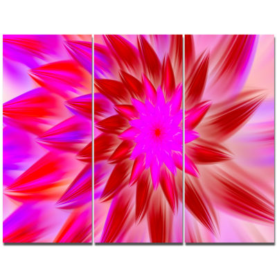 Designart Beautiful Pink Flower Petals Floral Canvas Art Print - 3 Panels