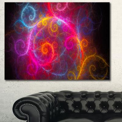 Designart Beautiful Pink Pattern On Black AbstractCanvas Art Print