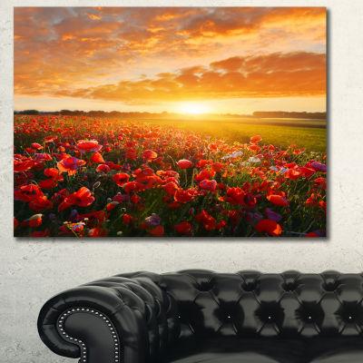 Design Art Beautiful Poppy Field At Sunset AbstractCanvas Art Print - 3 Panels