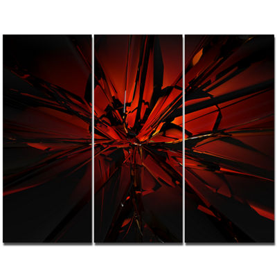 Designart Beautiful Red 3D Crystal Design AbstractCanvas Art Print - 3 Panels