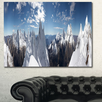 Designart Beautiful Summit Panorama Landscape Canvas Art Print - 3 Panels