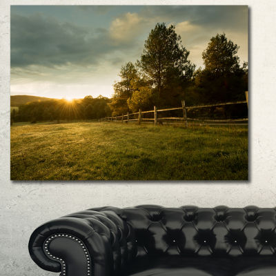 Designart Beautiful Sunrise In The Farm LandscapeCanvas Art Print