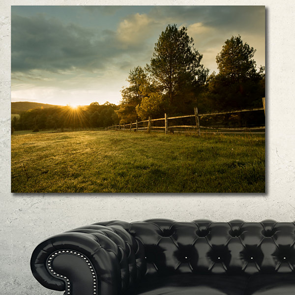 Designart Beautiful Sunrise In The Farm LandscapeCanvas Art Print - 3 Panels