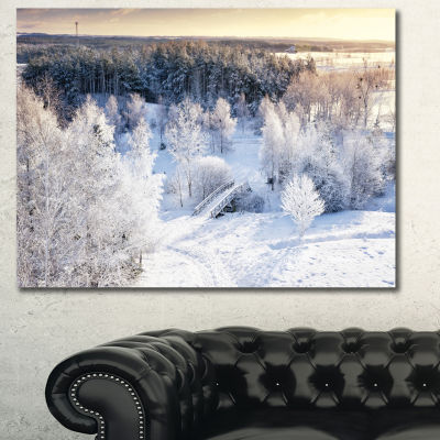Designart Beautiful Winter Panorama Landscape Canvas Art Print - 3 Panels
