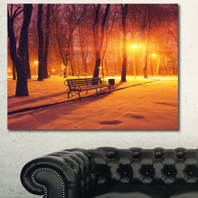 Designart Benches Covered In Winter Snow LandscapeCanvas Art Print - 3 Panels