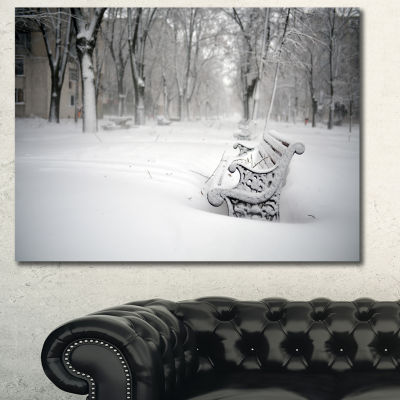 Designart Benches In Park Covered With Snow Landscape Canvas Art Print