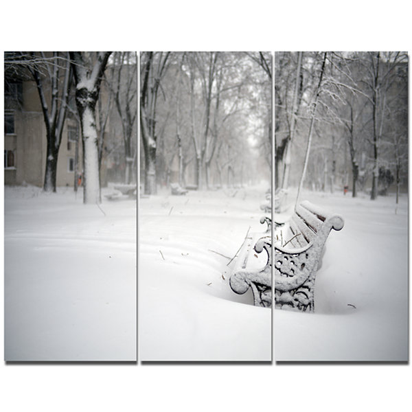 Designart Benches In Park Covered With Snow Landscape Canvas Art Print - 3 Panels