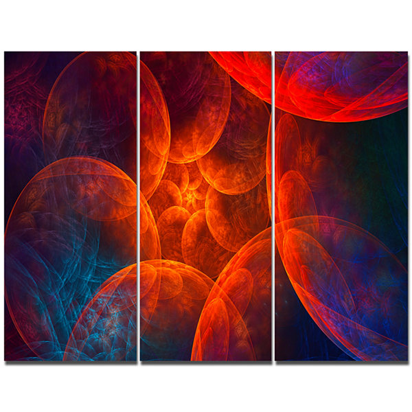 Designart Biblical Sky With Clouds Abstract CanvasArt Print - 3 Panels