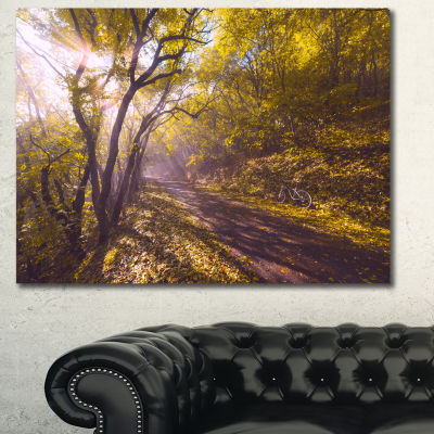Designart Bicycle Ride In Fall Forest Landscape Canvas Art Print - 3 Panels